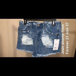 Jean distressed shorts